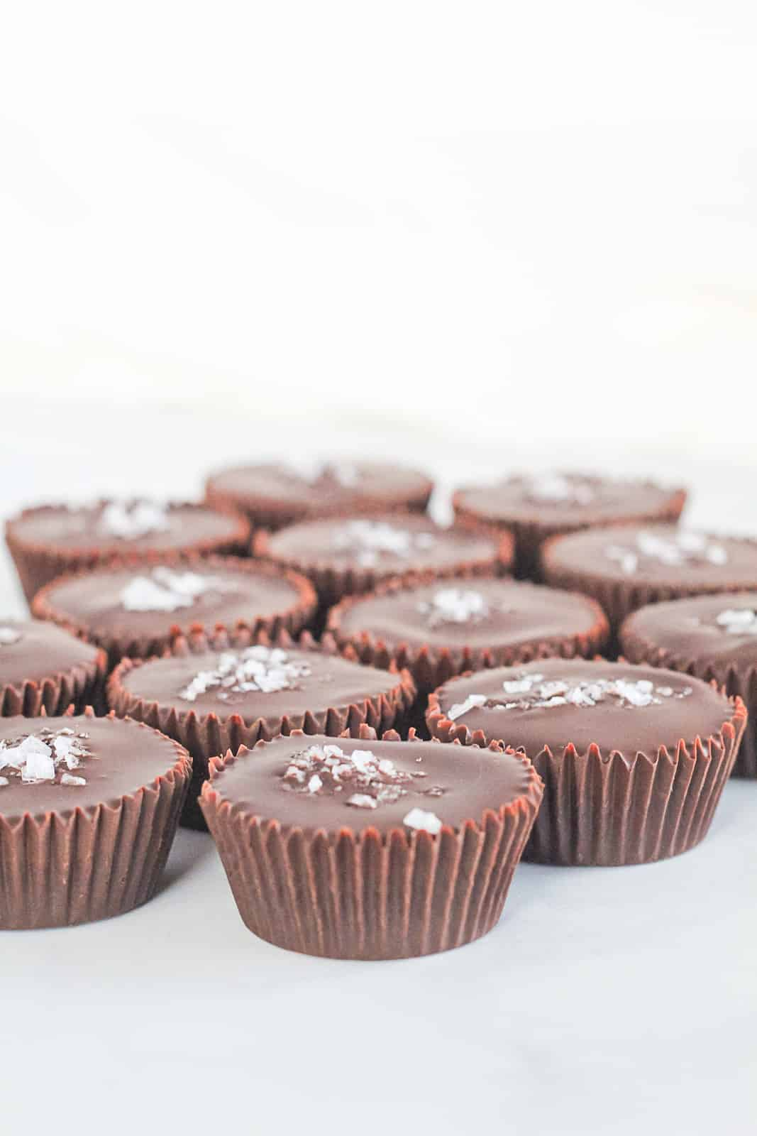 Side view of homemade almond butter cups.