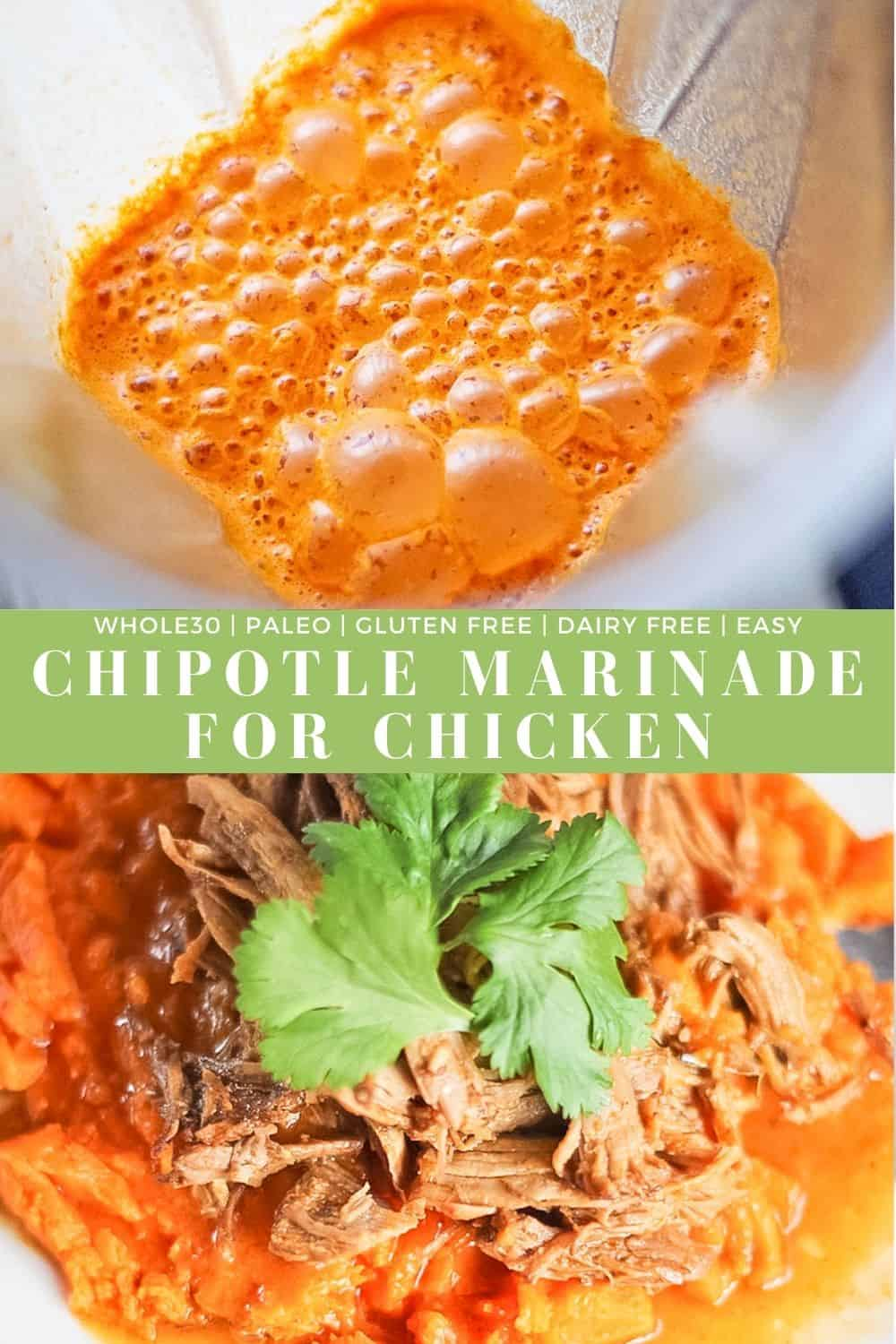 Two pictures combined, one of the chipotle marinade in a blender and the other of shredded pork in the chipotle marinade being served over a sweet potato with cilantro.