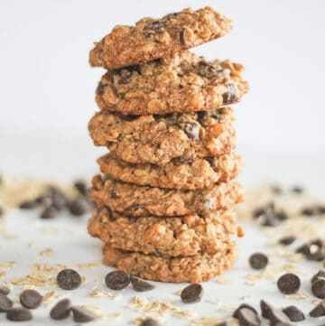 Chocolate Chip Cookies in a stack.