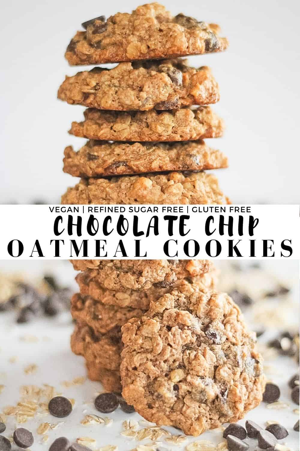 Two combined pictures of chocolate chip oatmeal cookies.
