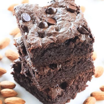 Stack of three Gluten Free Chocolate Brownies.