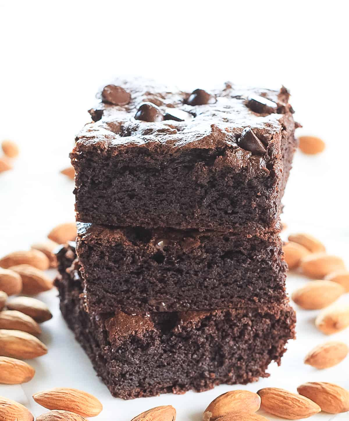 Stack of three healthy chocolate brownies.