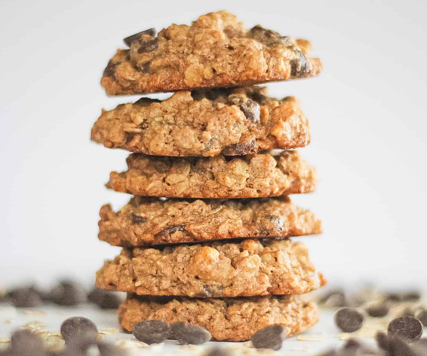 Stack of gluten free chocolate chip oatmeal cookies.