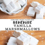 Homemade Vanilla Marshmallows on a wood board and stacked in a white dish.