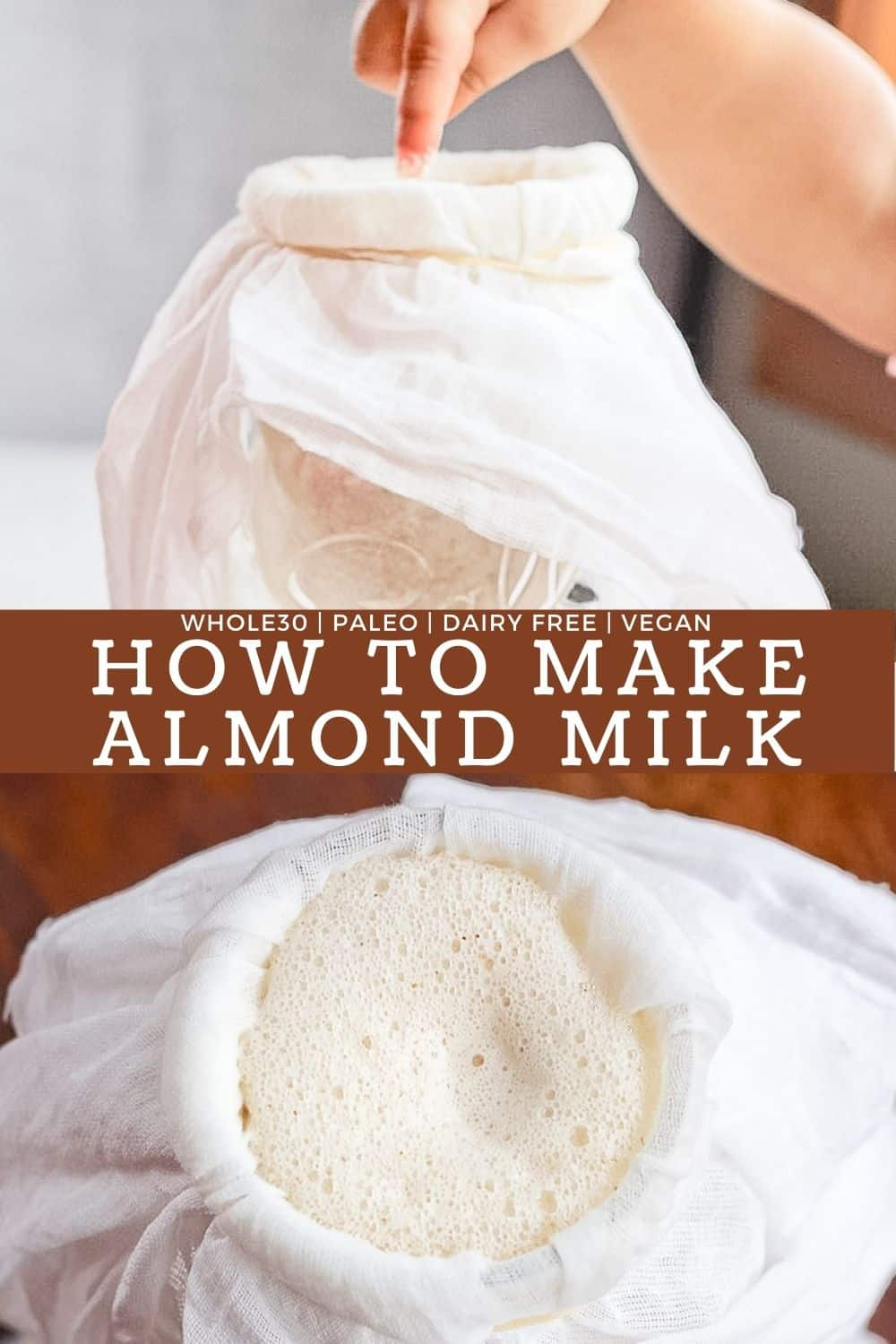 Two combined pictures of how to make almond milk.
