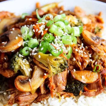 Instant Pot Teriyaki Chicken over basmati rice for an easy and healthy dinner.