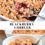 Combined picture of a scoop of blackberry cobbler into a serving bowl.