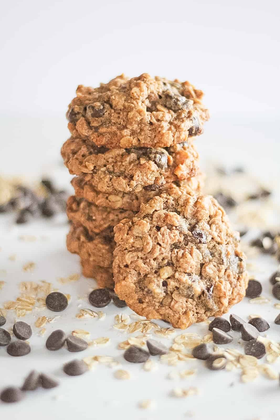 Stack of vegan chocolate chip oatmeal cookies.