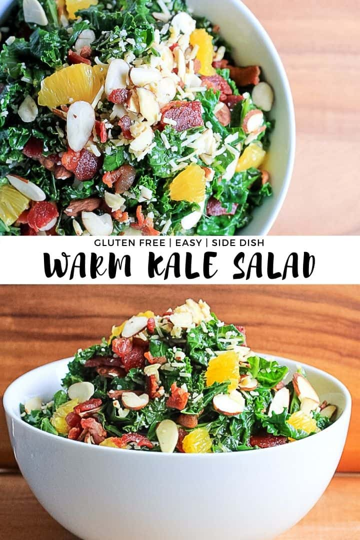 Warm Kale Salad side dish in a white bowl tossed with bacon, oranges, parmesan and slivered almonds.