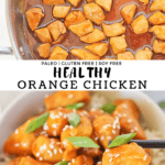 Healthy Orange Chicken in a pot and served in a white bowl with black chopsticks taking a bite.