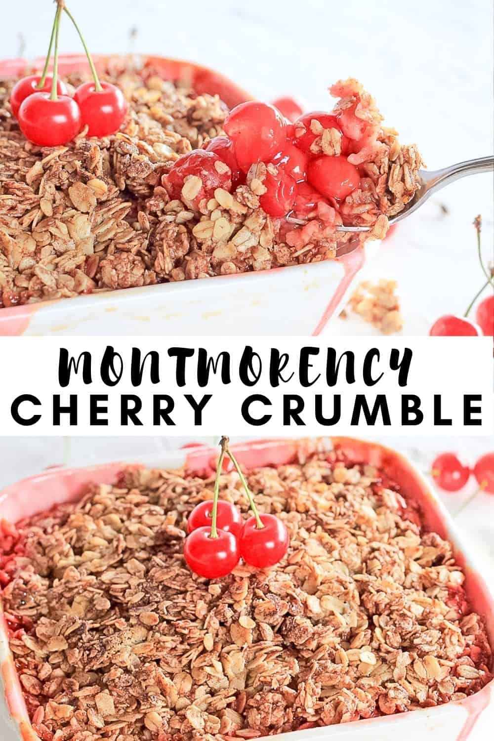 Montmorency Cherry Crumble in a white baking dish.