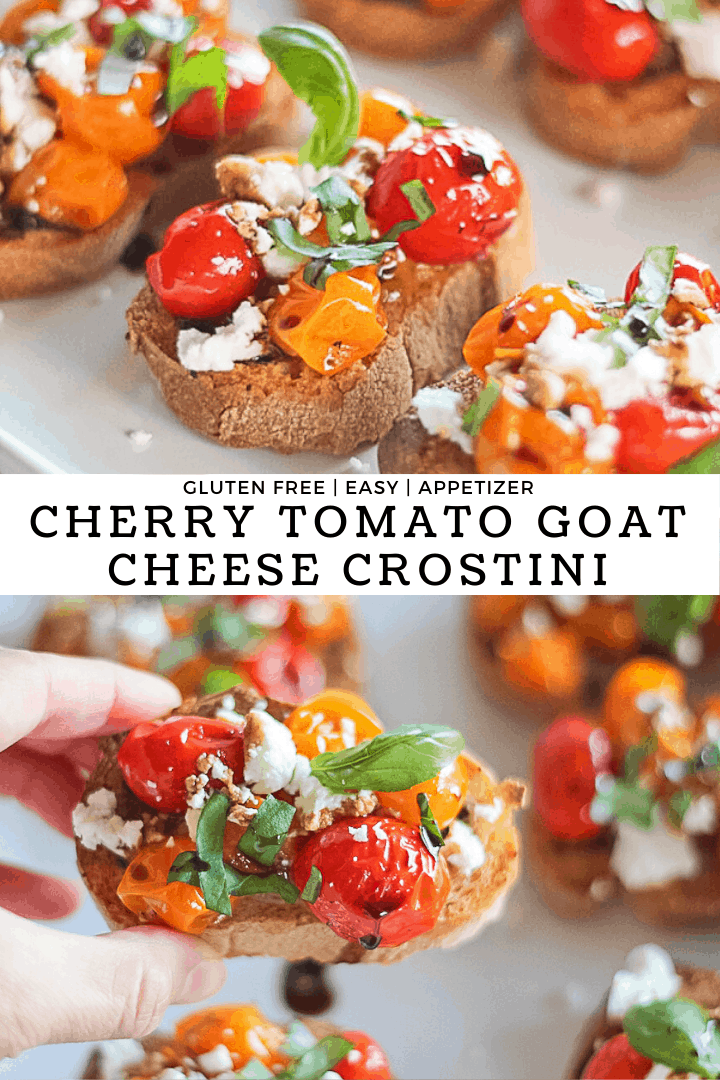 Cherry tomato crostini with goat cheese, basil and balsamic glaze with recipe title.