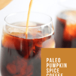 Paleo Pumpkin Spice Coffee Creamer being poured into a glass
