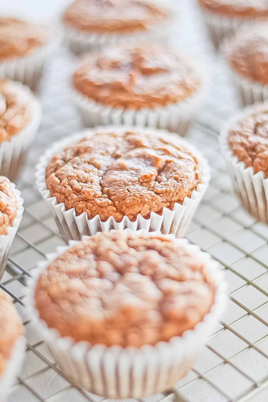 Pumpkin Protein Muffins on a cooling rack.