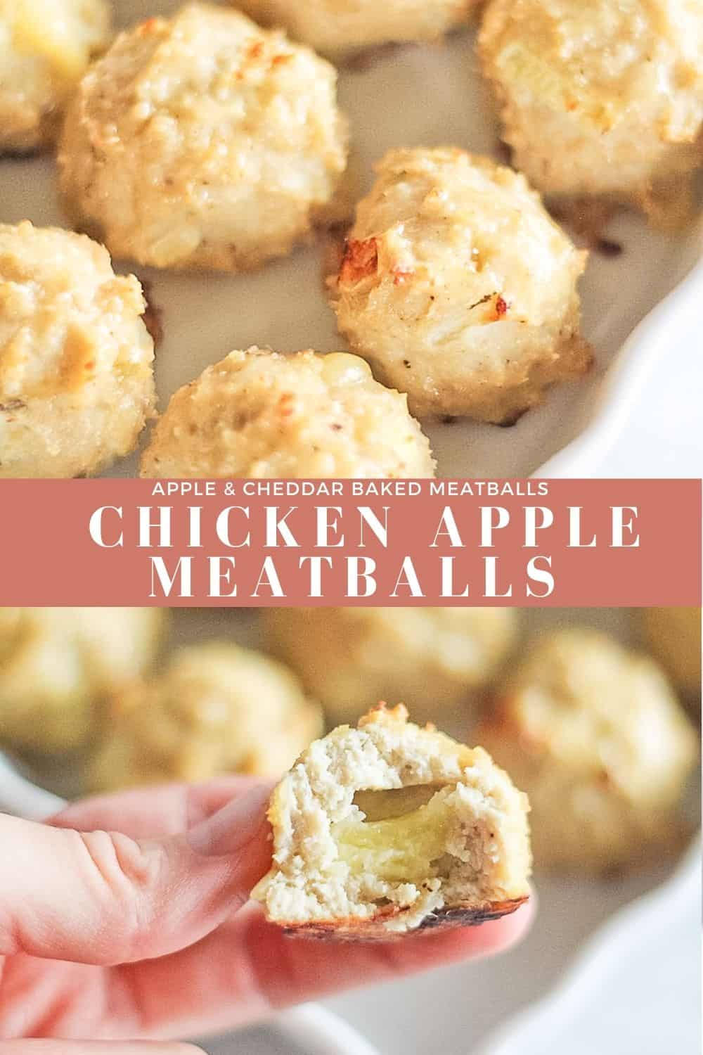 Two combined pictures of chicken apple meatballs.