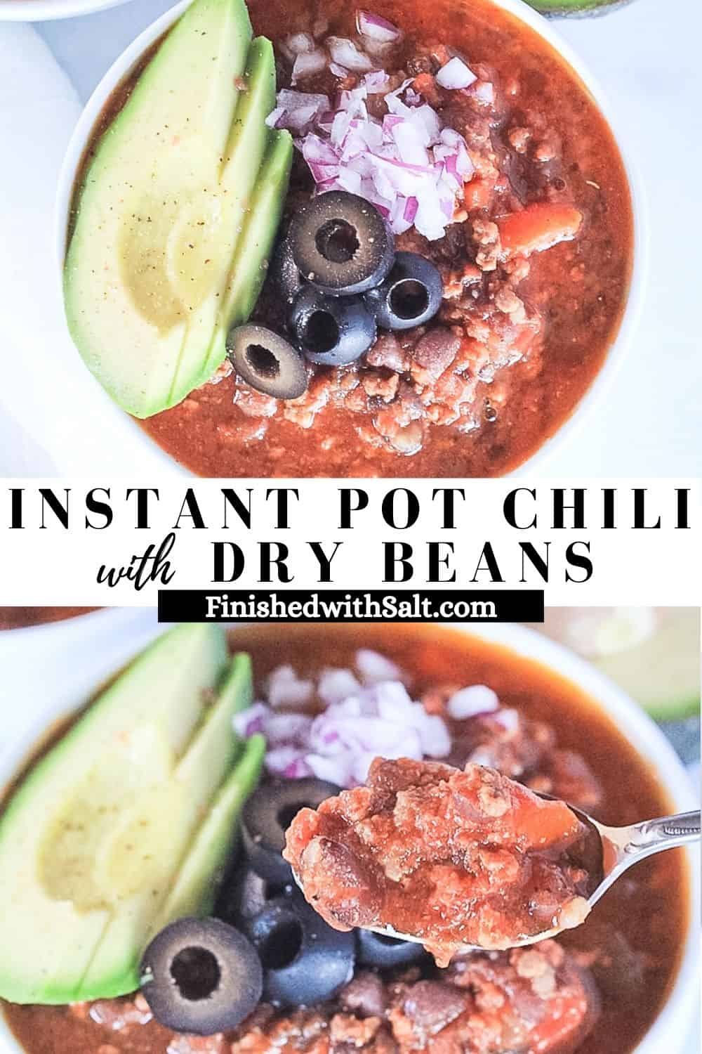 Two combined pictures of chili in white bowls and a spoon scooping a bite.