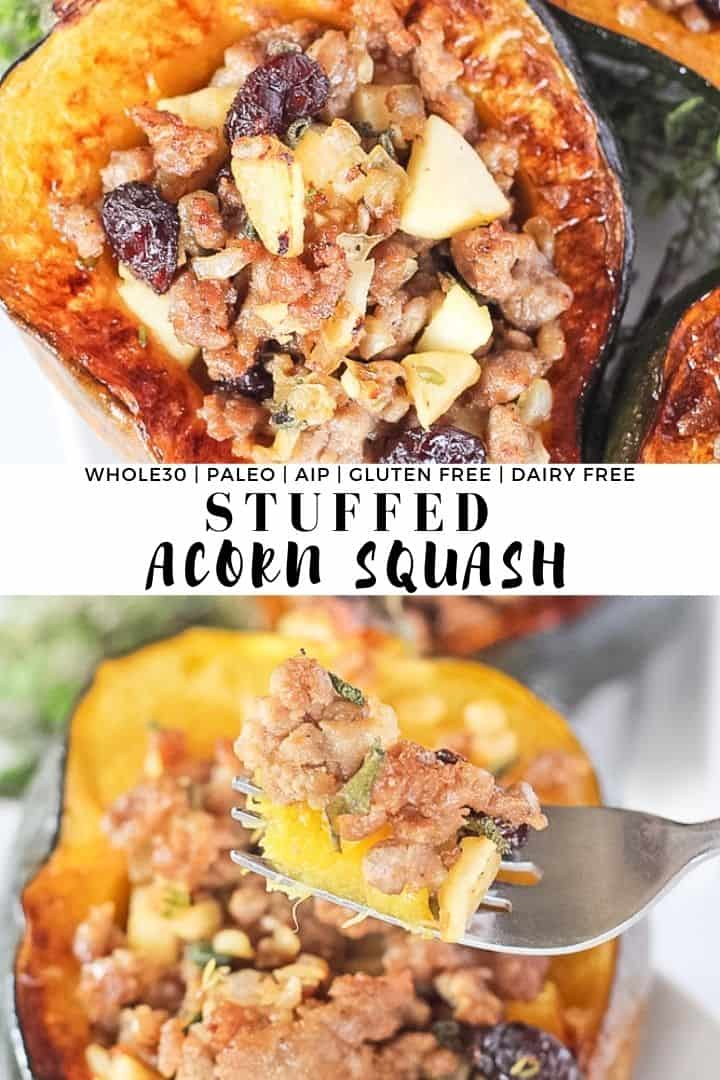 Stuffed Acorn Squash with sausage, apples and cranberries.