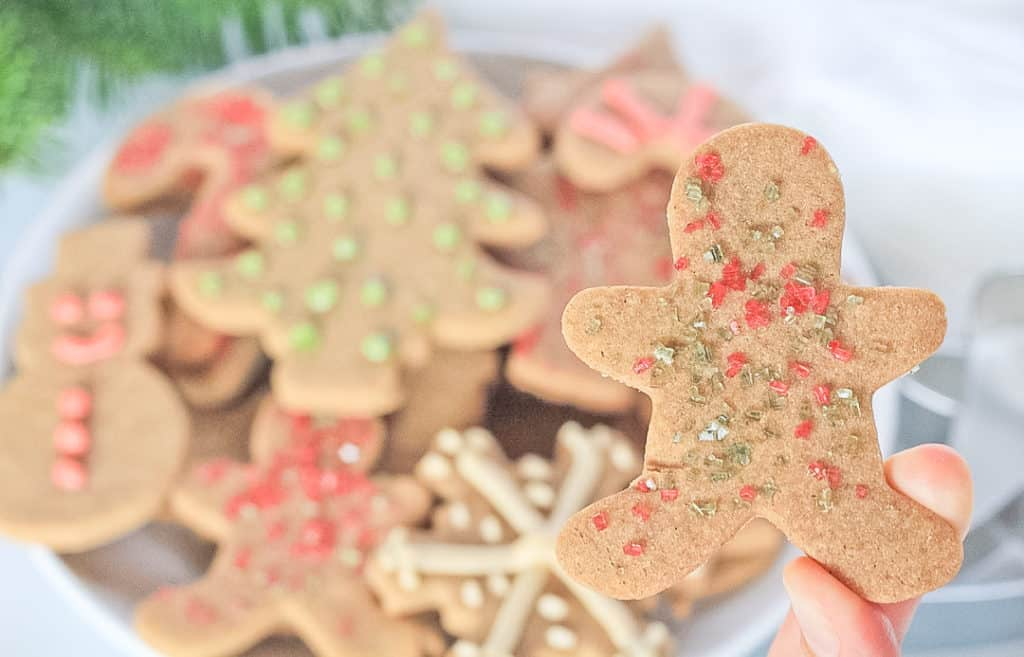 Cassava flour Christmas sugar cookies decorated with sprinkles and icing.