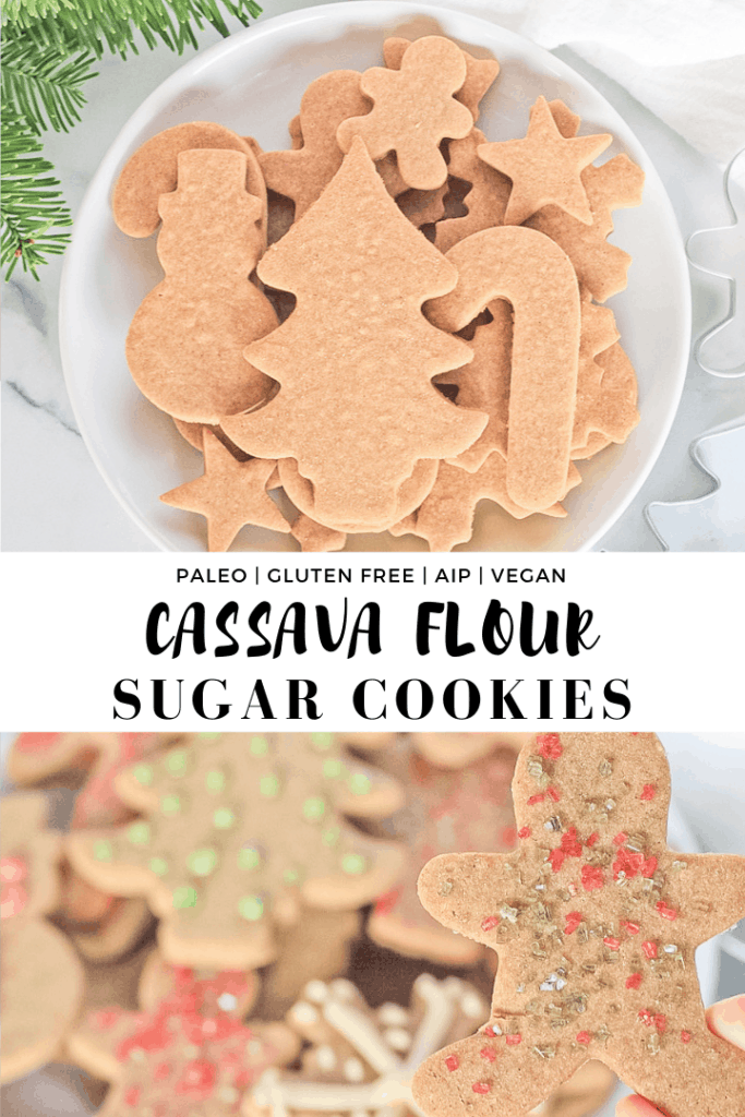 Double picture of Christmas cut out cookies both sprinkle and icing decorated and plain.