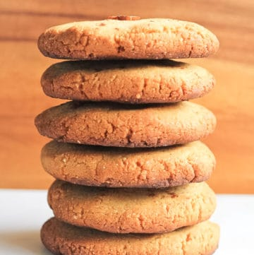 Stack of paleo shortbread cookies.