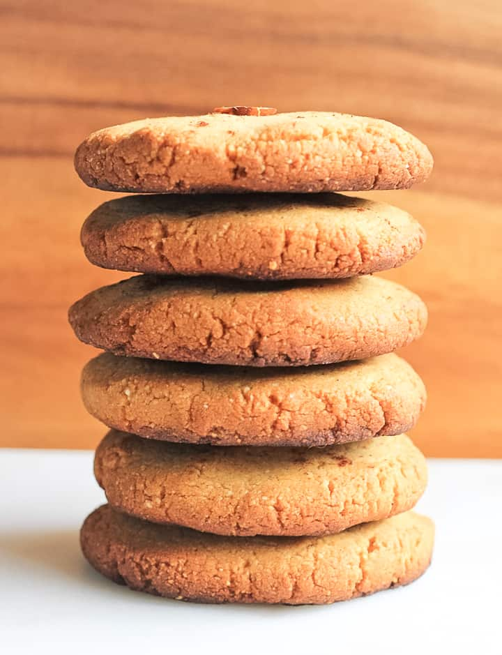 Stack of paleo shortbread cookies.