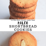 Stack of paleo shortbread cookies and a top view of a cookie with a slivered almond in the center.