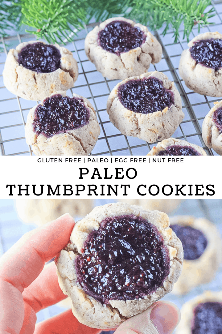 Paleo thumbprint cookies cooling on a wire rack filled with blackberry chia seed jam with recipe title.