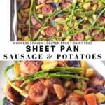 Sheet pan dinner with sausage, asparagus and crispy potatoes, a family favorite!