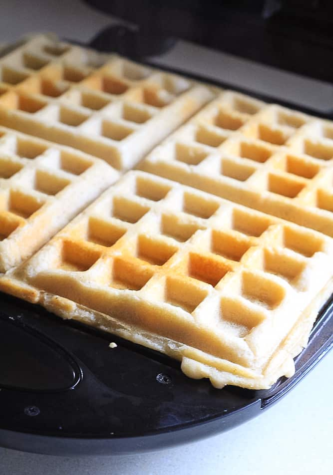 Overnight gluten free waffle batter for easy freezable meal prep friendly waffles.