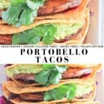 Two combined pictures of portobello tacos.