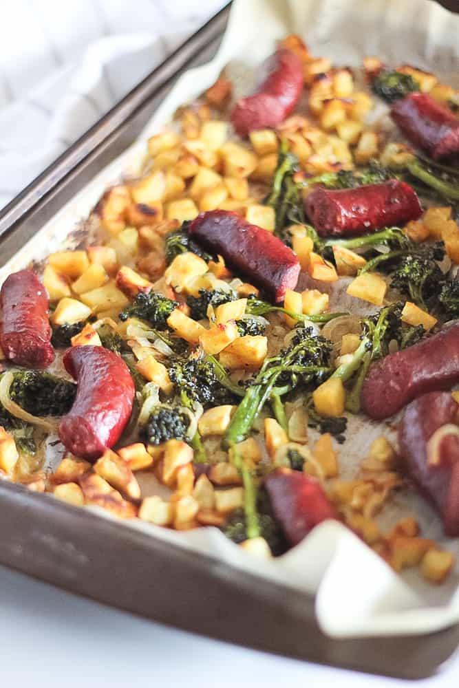 Sheet pan sausage, sweet potato and broccolini dinner.