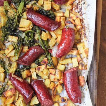Sheet pan sausage, sweet potato and broccolini dinner.