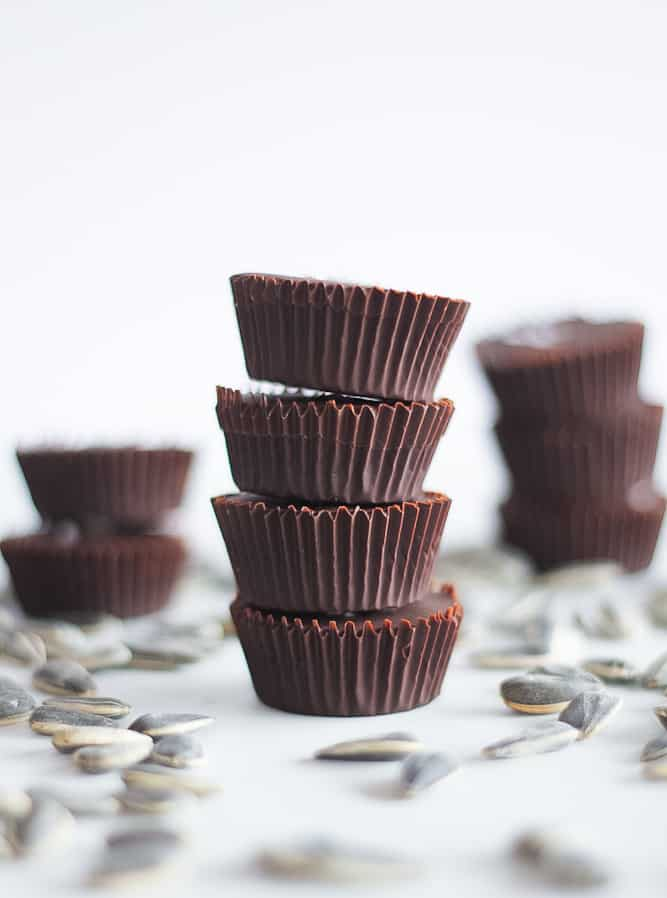 Stack of sunbutter cups for a healthy dessert.
