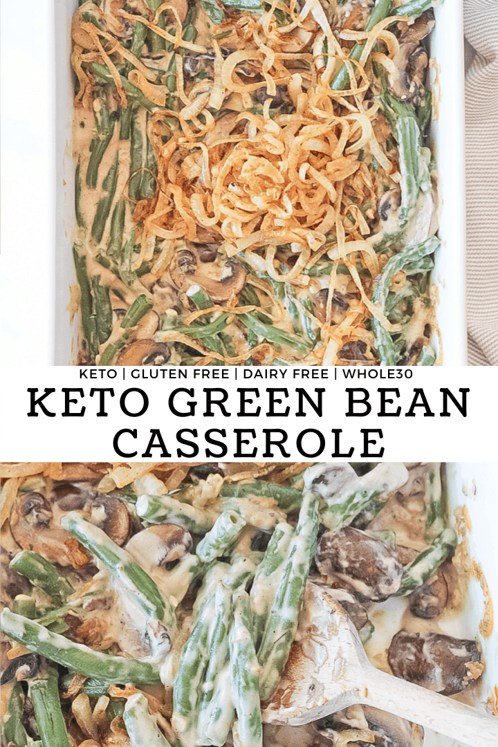 Two pictures combined showing a close up scoop and overhead view of the keto green bean casserole in a white dish.