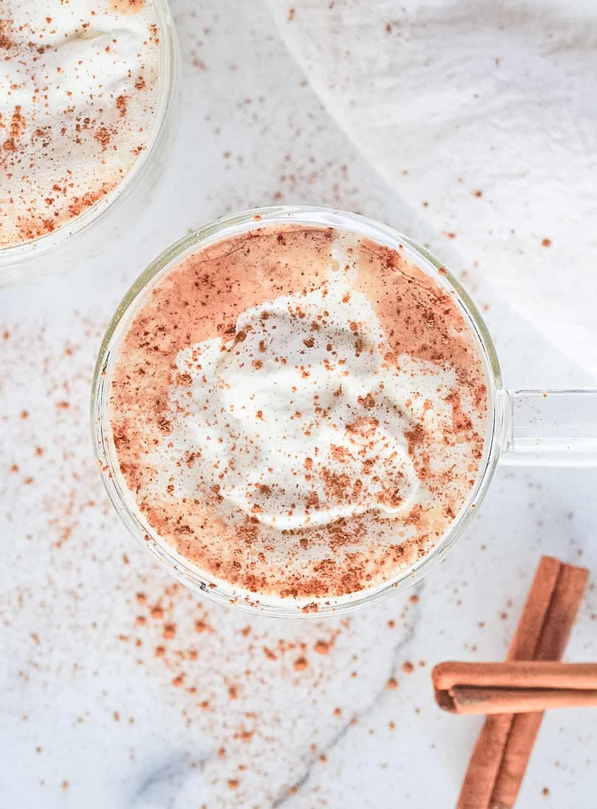 Paleo Hot Cocoa with coconut cream and cinnamon.