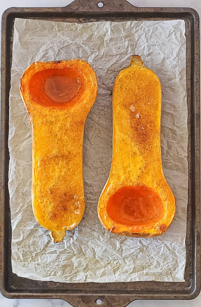 Oven roasted butternut squash seasoned with salt and pepper.