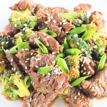 Close up of Instant Pot Beef and Broccoli.