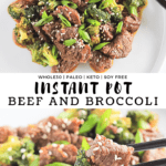 White plate filled with beef and broccoli, black chopsticks picking up a bite and recipe title.