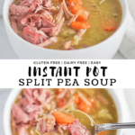 Split pea soup with ham, carrots, celery and onions in two white bowls. Recipe title.