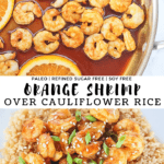 Close up of orange shrimp over cauliflower rice with sesame seeds and green onion on top.
