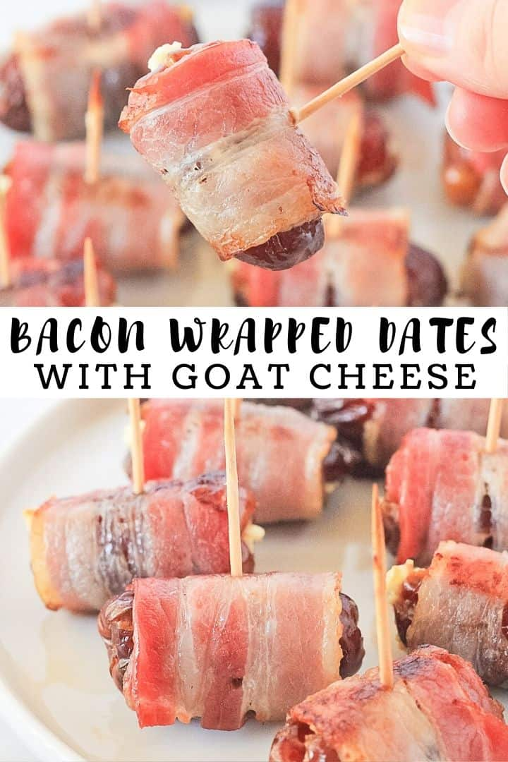 Bacon wrapped dates on a white plate with toothpick sticking out of them with recipe title.
