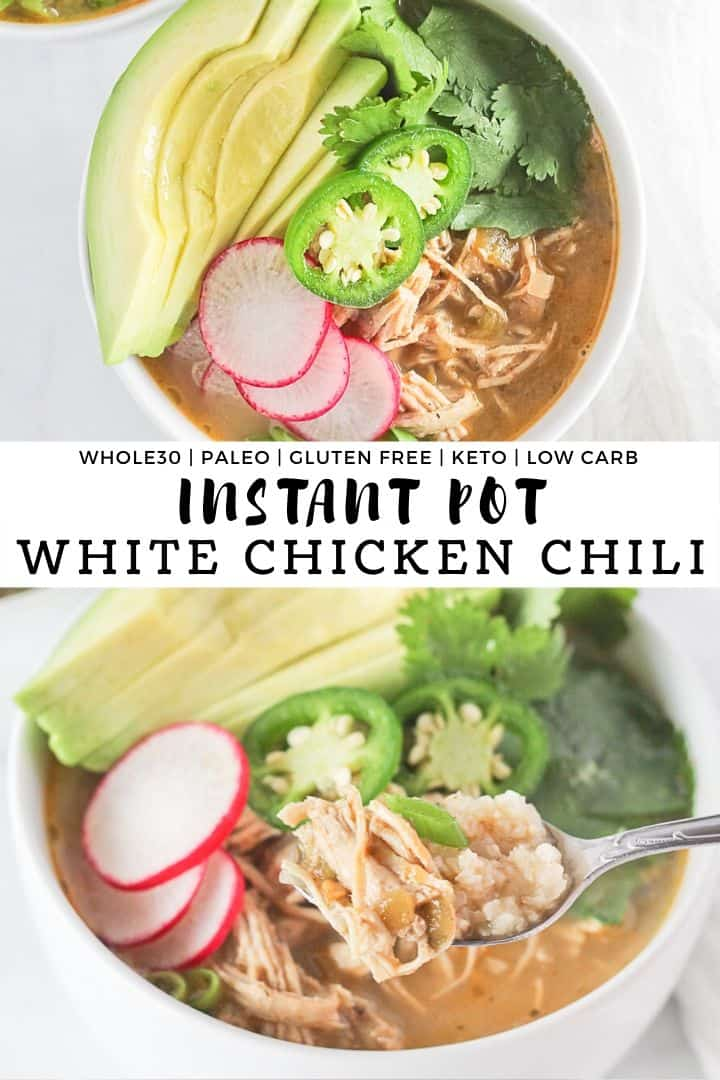 White bowls of Instant Pot White Chicken Chili with garnishes.