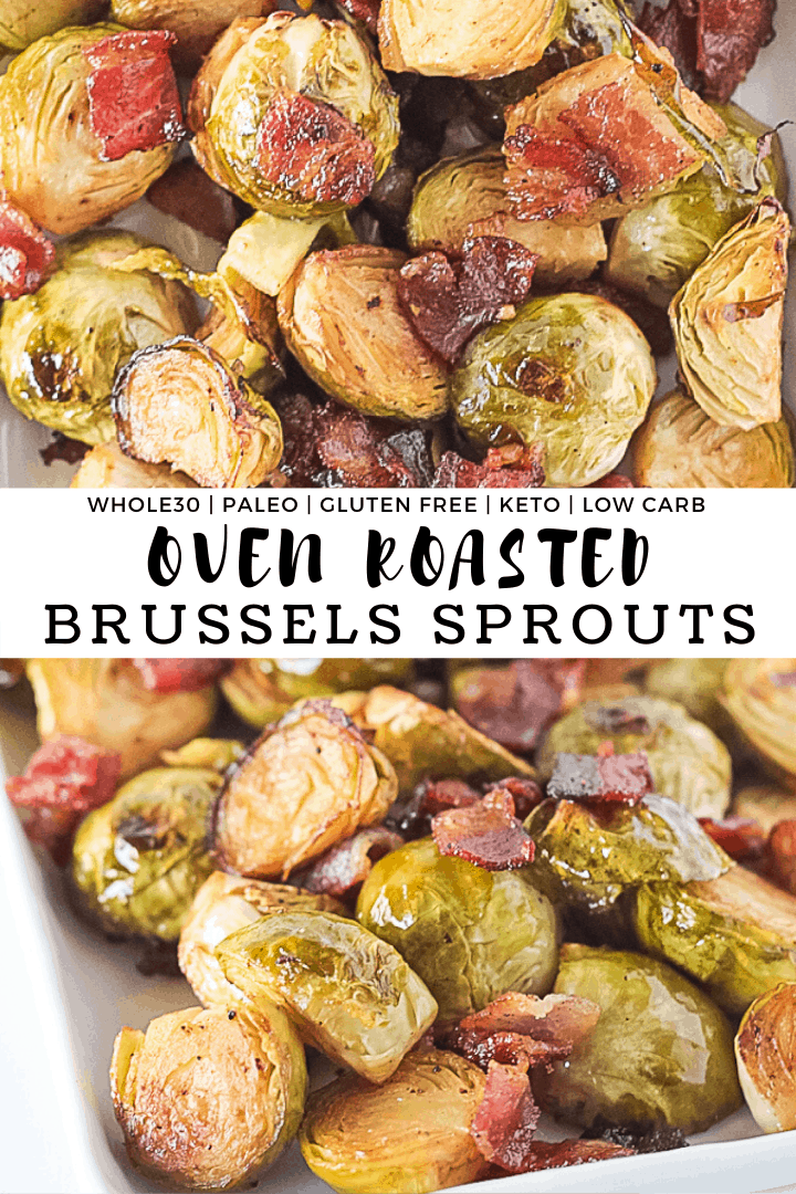 Roasted Brussels Sprouts with bacon on a white serving dish with recipe title.