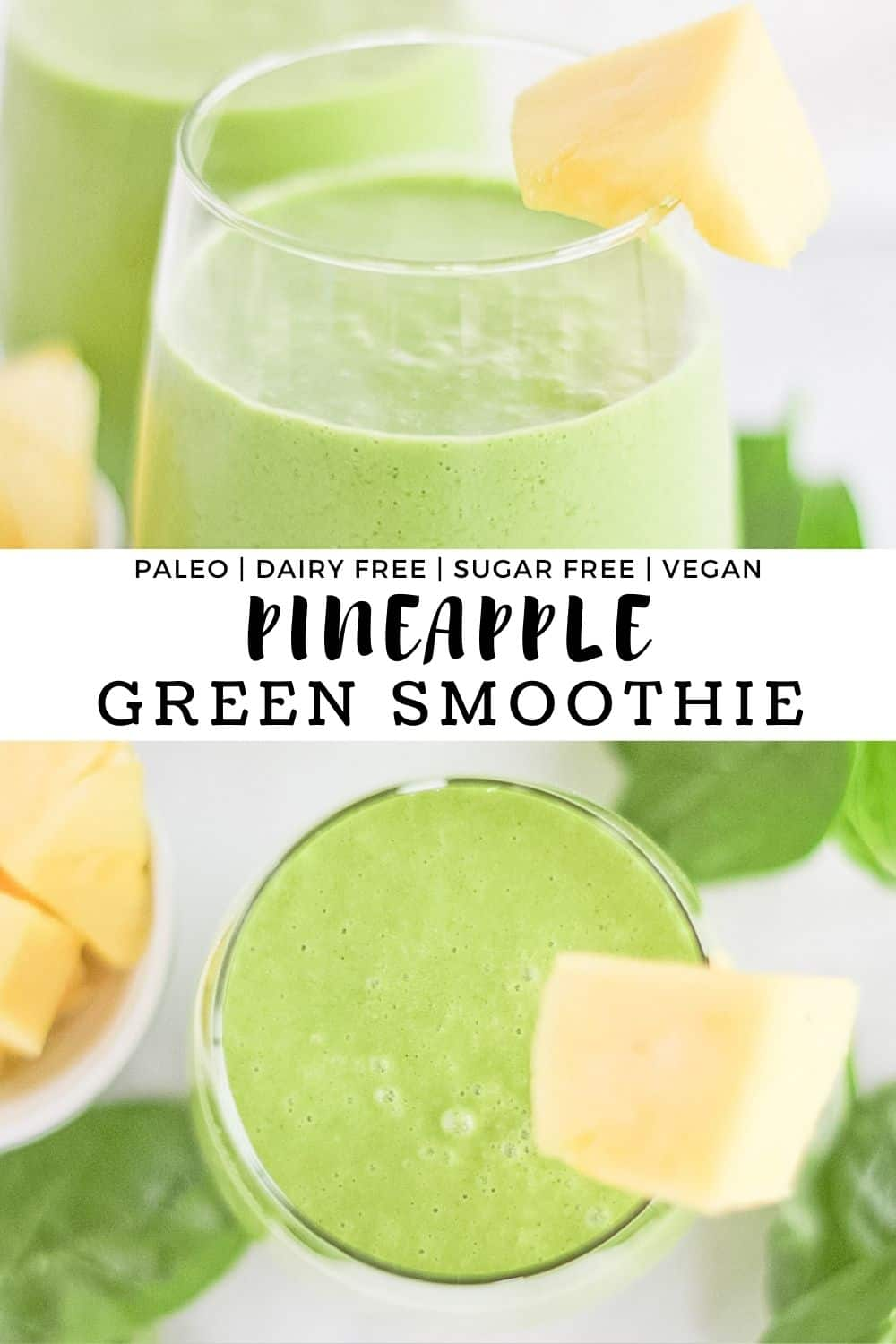 Pineapple green smoothies in glass cups with a wedge of pineapple on the side of the glass.