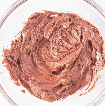 Vegan Chocolate Frosting in a glass bowl.