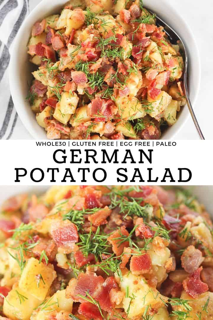 German potato salad with bacon, mustard and dill with recipe title.