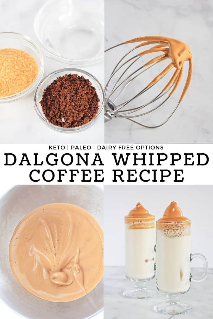 Collage of how to make a dalgona whipped coffee recipe.