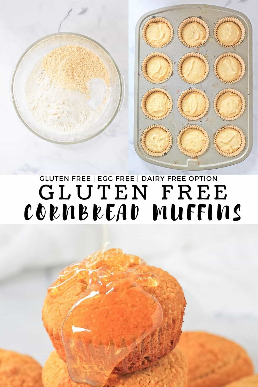 Collage of gluten free cornbread muffin process shots with recipe title.