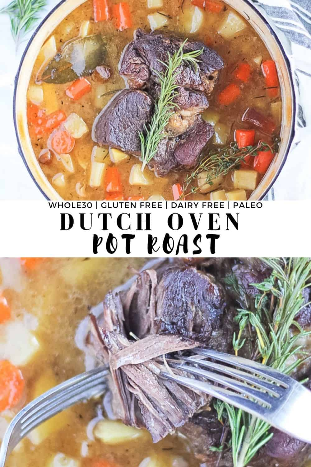 Combined two pictures of whole30 pot roast in the dutch oven.