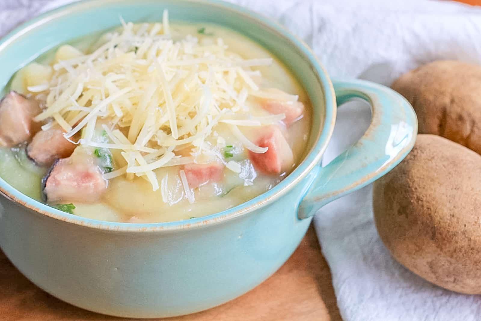 Close Up of Instant Pot Creamy Potato Ham & Kale Soup